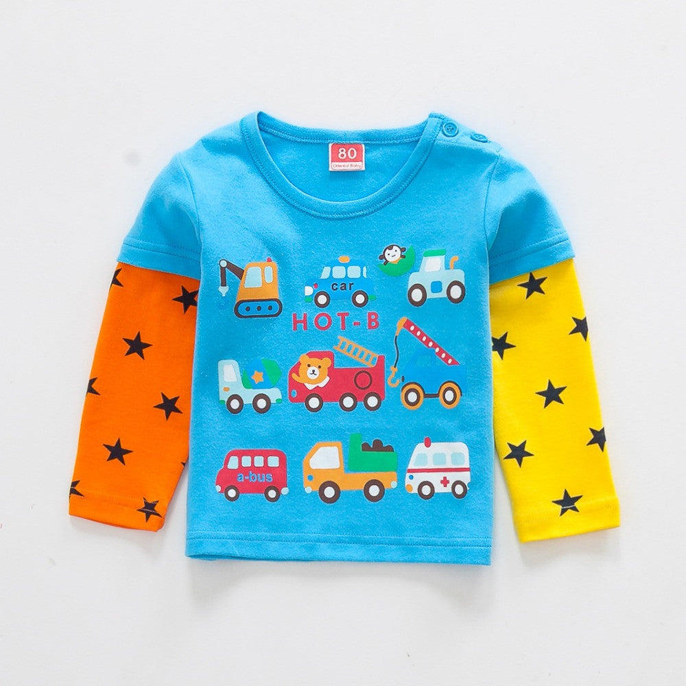 baby clothes New baby boys baby Girls T Shirt Car Cartoon long
