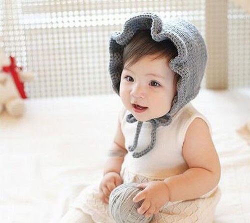 Princess Knit Winter Baby Hat with Flouncing Adjustable Lace Up Baby