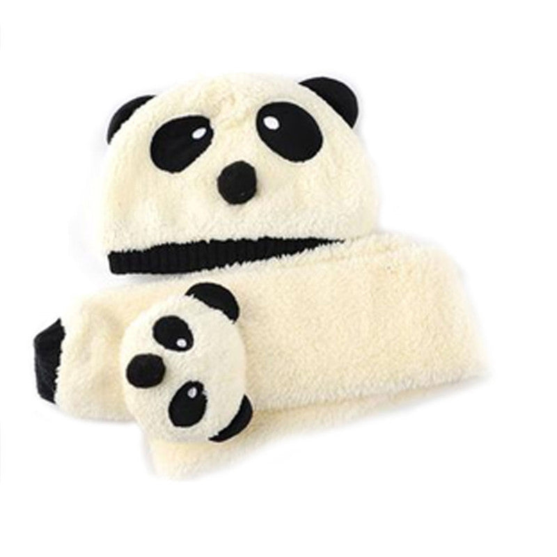 Super Cute And Warm Baby Wool Panda Cap Match Scarf Hat and Scarf Set