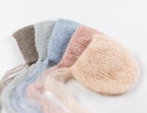Handcraft Baby hand Knit Mohair Bonnet ,Baby Photography Props.