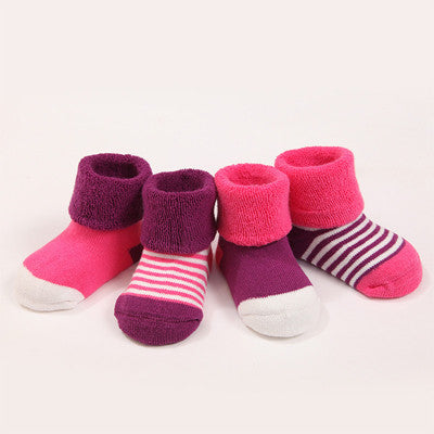 Hot Sale Stylish 4 pair Cute Four kind color Dot pattern Socks 100%