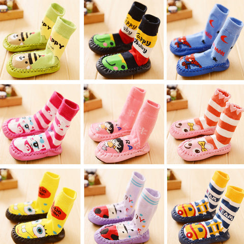 Fashion Winter Baby Boy Girl Children Socks Anti Slip Newborn Cartoon Shoes Slippers Boots Soft Leather Soled Indoor Socks