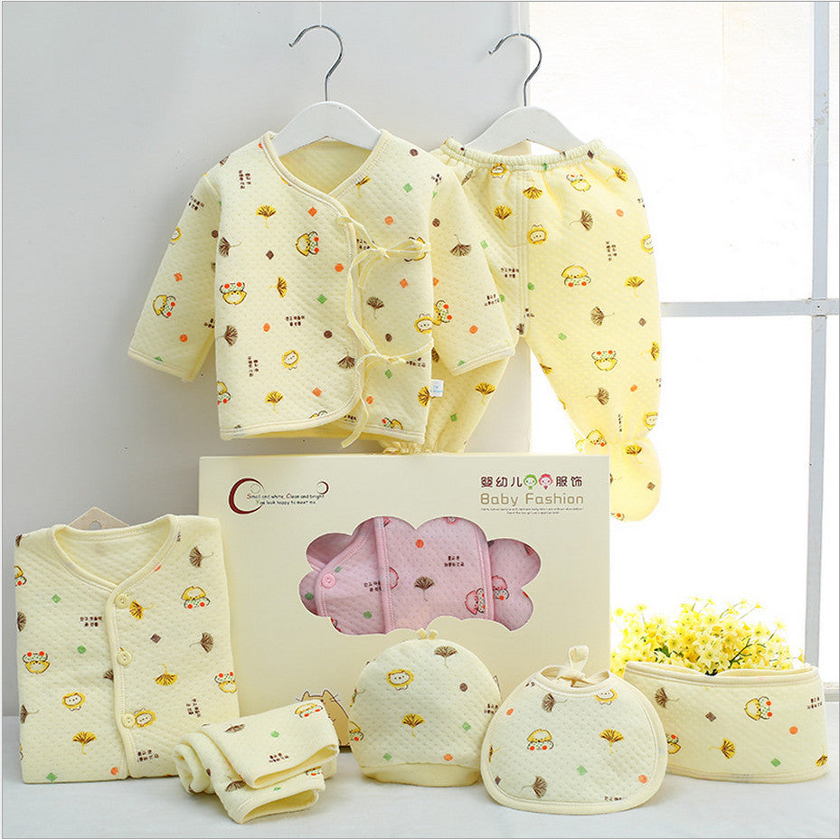 7 Pieces 100% Cotton Newborn Baby Clothing Set Autumn & Winter Clothes