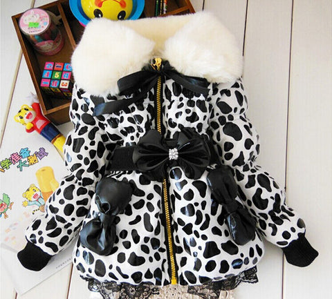 BibiCola Winter kids christmas outfits snowsuit outerwear Girls Leopard Faux Fur Collar Coat Baby Children UP  jacket