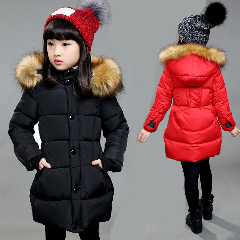 6-16Y Girls Coats Jackets 2016 Winter Children Hooded Coat Thick