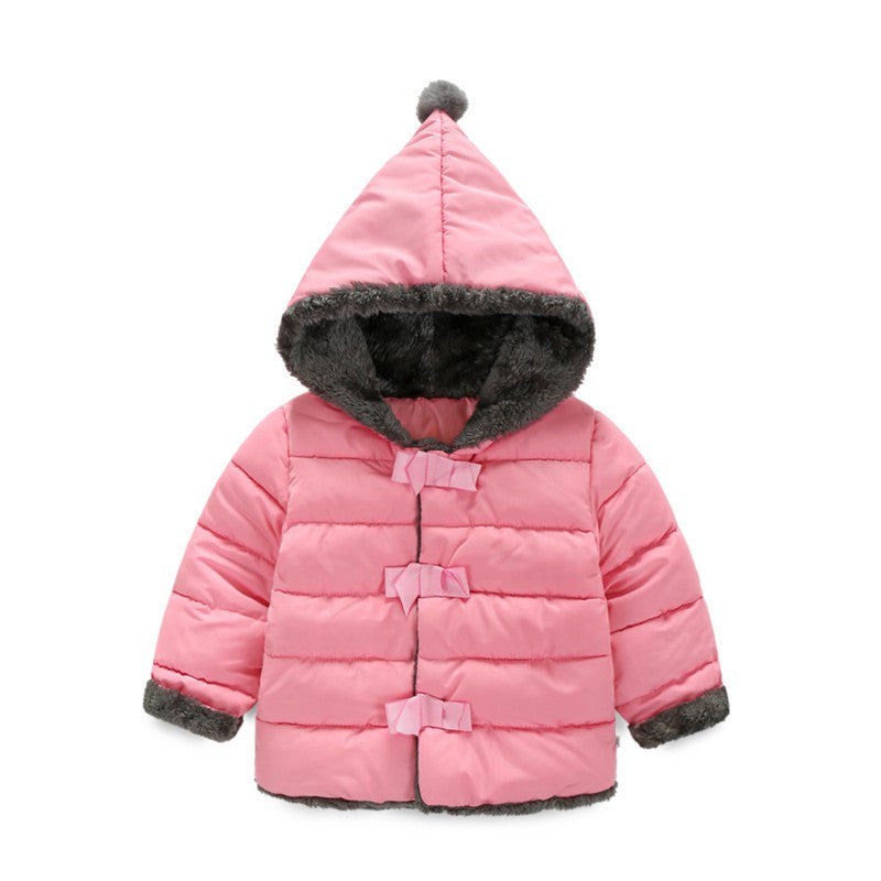 90-120cm Pointy Hat Baby Girls Winter Jackets And Coats Hooded Red