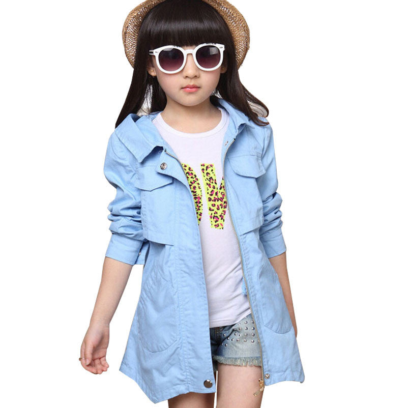 Baby children jackets for girls trench coat long cotton child