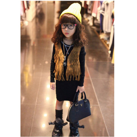 Autumn children's fringe suede vest leather tassel vest fashion Scrubs fringe vests baby sleeveless vest girl kid waistcoats