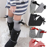 Autumn Girls Cotton Long Striped Stockings Children Bow High Stockings For Football Baby Kids Leg Warmers Winter Warm Boot