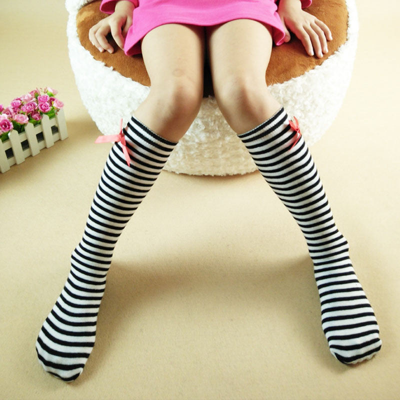 Autumn Girls Cotton Long Striped Stockings Children Bow High Stockings