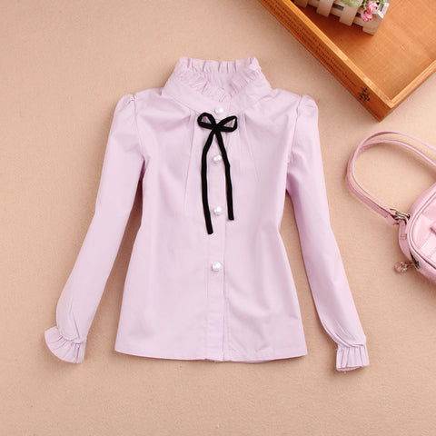 New 2017 Baby Girls Clothes Children Clothing Cotton Child Shirt School Girl Blouse Cute Bow Kids Blouse,4 Colors Age 2-16T