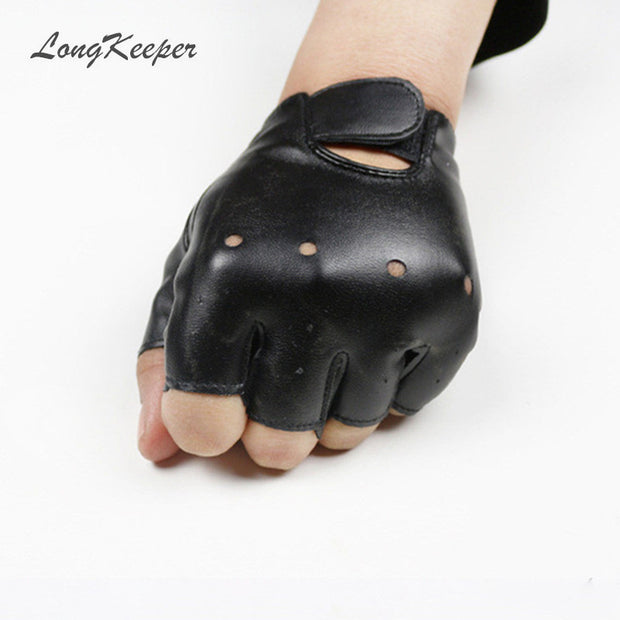 High Qualtiy Leather Gloves for Kids Boy Girls Fingerless Gloves