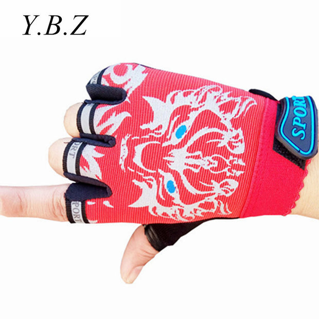 Cute Sport Gloves For Kids 4-12 Years Boys Girls Fingerless Gloves