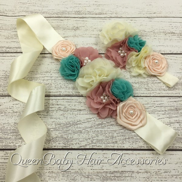 6set/lot  Ivory Sash Belt Matching Baby Headband Satin Flower  Sash