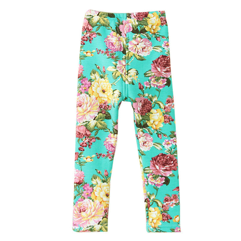 8-16T ,big Kids Girl Winter Warm Floral Print Thick Legging Pants