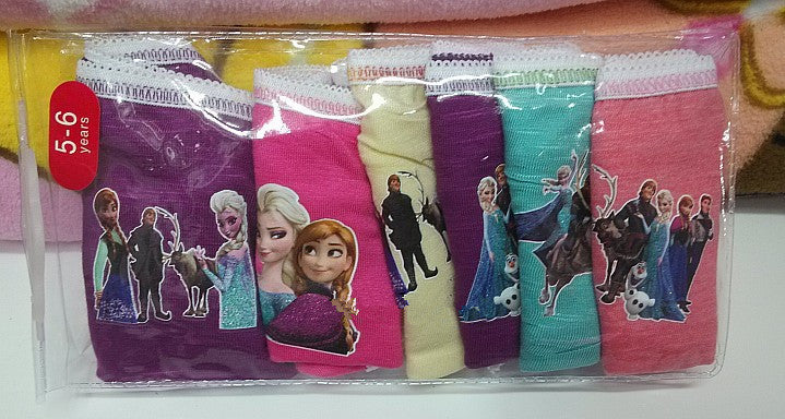 6Pcs/lot Wholesale Snow Queen Anna Elsa Cartoon Children Underwear