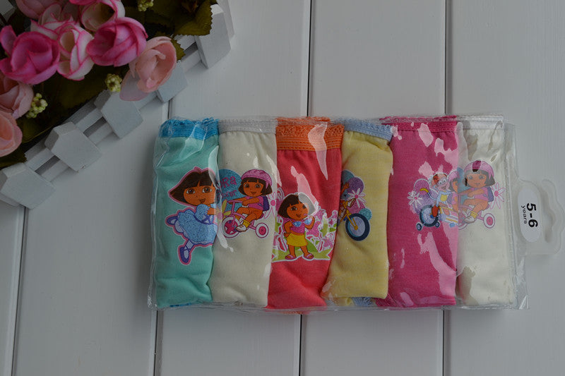 6pcs/lot Wholesale Fast Shipping Girl's Dora Briefs Children Underwear