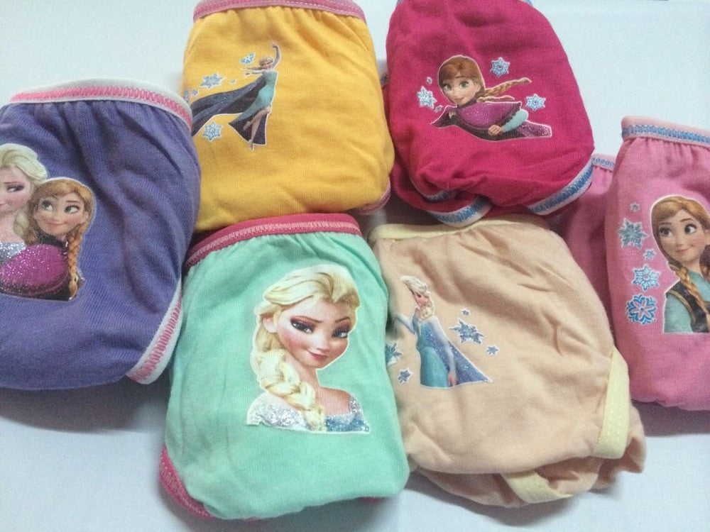 6Pcs/lot Hotsale Snow Queen Anna Elsa Cartoon Underwear Girl Cute