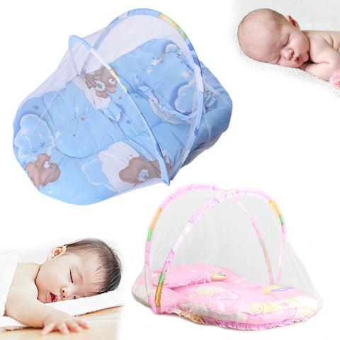 Baby Bed with  Cushion Pillow Mosquito Net Insect Cradle Bed Netting Canopy Cushion Mattress for Infant 73*46cm