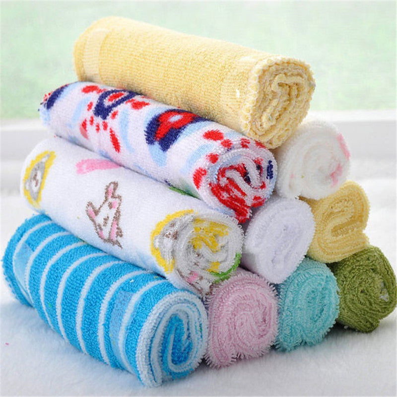 8pcs/pack small square soft cute cartoon/strip/solid baby towel