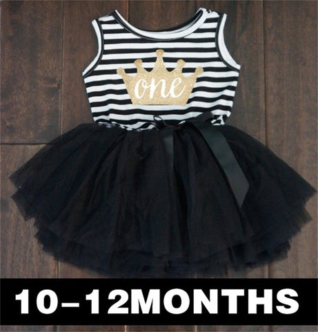 Baby Girl Clothes 2017 Girls Dresses Kids Princess Crown Print Dress