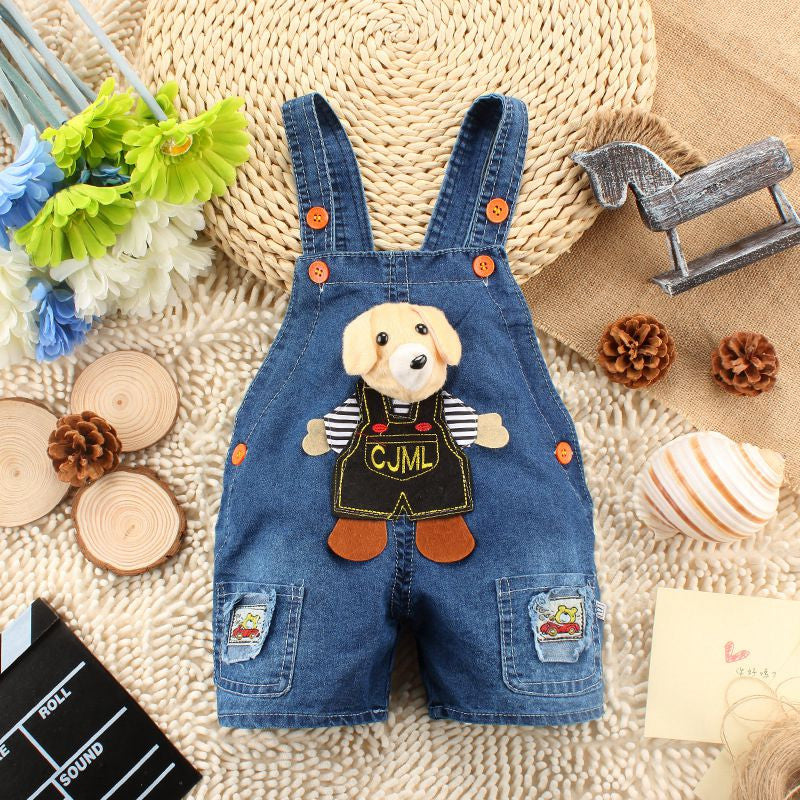6M-2T Baby Boys Girls Jeans Overalls Shorts Toddler Kids Denim Rompers