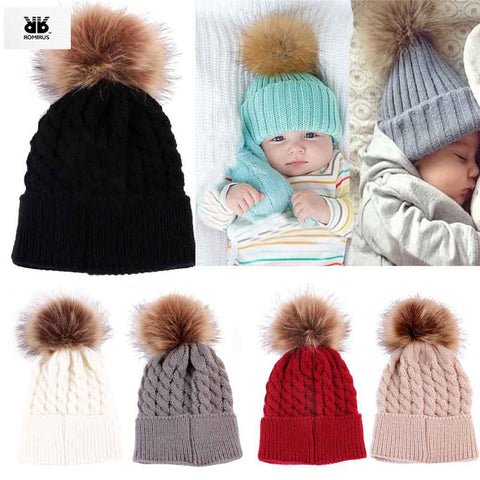 ROMIRUS Newborn Cute Winter Baby Girl Hat Fur Ball Pom Pom Cap Kids Winter Knitted Wool Hats Caps for Girls Beanies nouveau ne