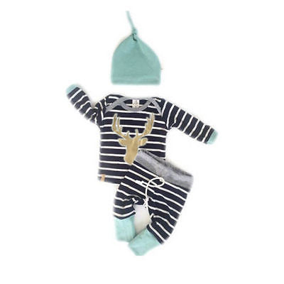 Baby Boy Girl Autumn Outfit Clothes Newborn Kids Striped T-Shirt Tops+