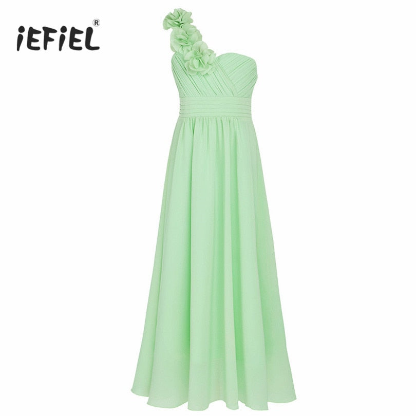 iEFiEL Floral Girl Dress Ball Gown Prom Formal Maxi Dress 4-14Y Kids Girls Flower Chiffon Dress for Party and Wedding Bridesmaid