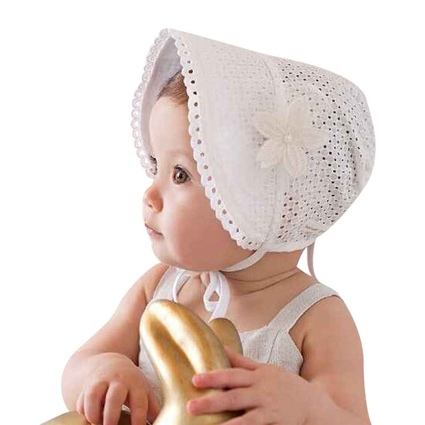 Sweet Princess Hollow Out Baby Girl Hat Summer Lace-up Beanie