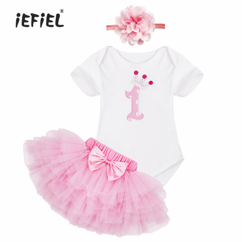 Baby Girl Dress Cotton Children Outfit New Year Pink Cake Pattern