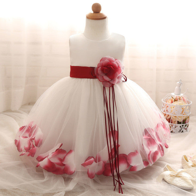New Petal Pattern First Birthday Baby Clothes Dress For Party