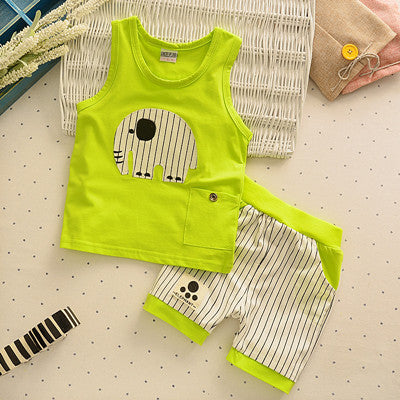 Baby Boys Girls Clothing Set Children Vest + Pants Set Kids Cartoon