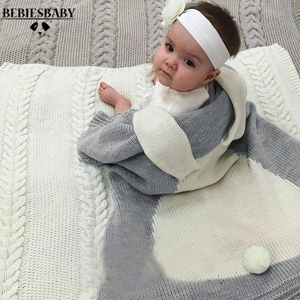 Baby Blanket Pink White Cute Rabbit Gray For Bed Sofa Wool blanket
