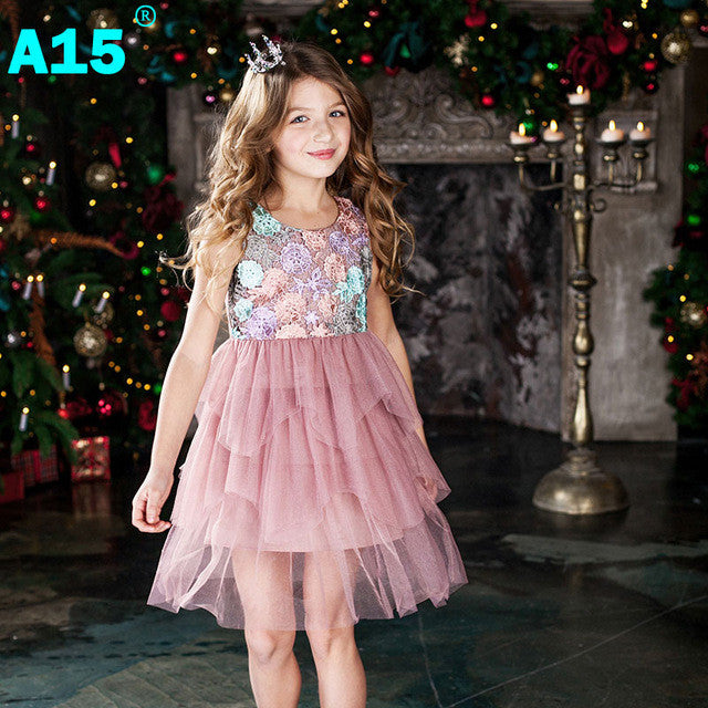 A15 Kids Girl Ball Gown Dress 2017 Toddler Girl Summer Lace Dress 6