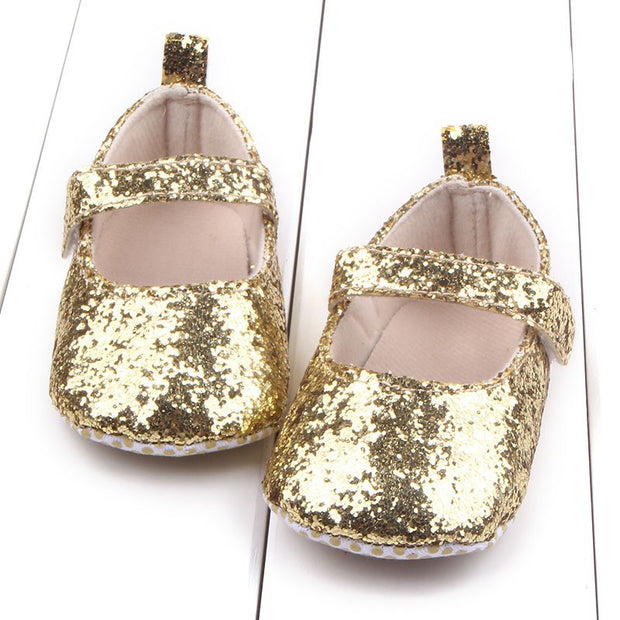First Walker Toddler Baby Girls Cotton Sequin Infant Soft Sole Shoes