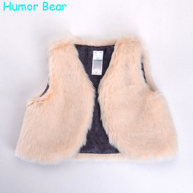Humor Bear Baby Girls Clothes Cotton Fake Fur Vests Autumn Winter