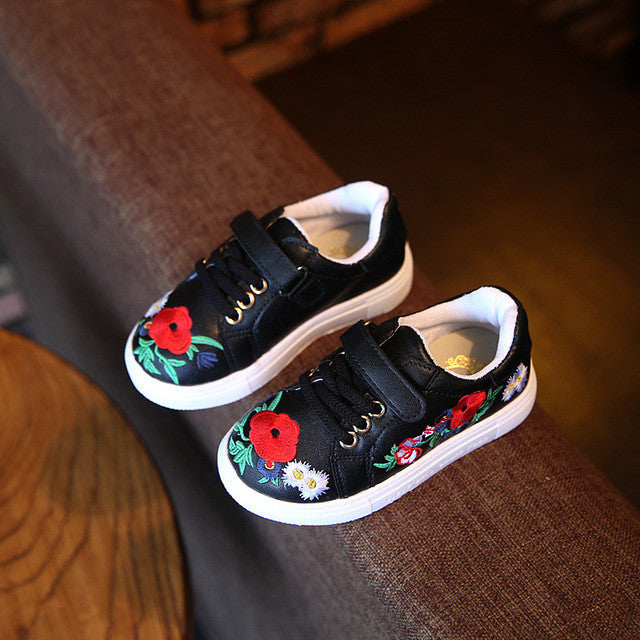 Autumn Children'S Shoes Girls Sneaker Fashion Casual Shoes With Flower
