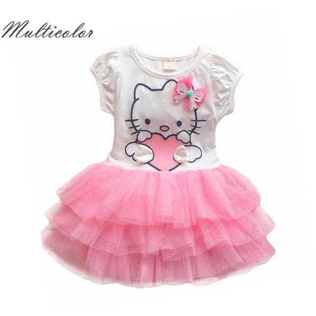 Hello Kitty Girls Dresses Summer 2017 Cartoon Wings Tutu Dress For