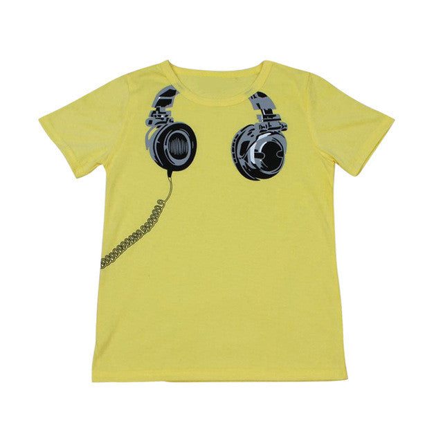 Baby Boys Girls Clothes Earphone Printed Short Sleeve Cotton T-Shirt