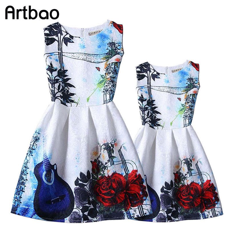 Artbao Summer family clothing European style Costumes family dresses
