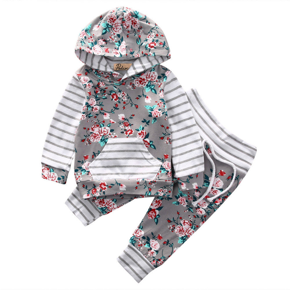 Baby Clothing Set Baby Girls Clothes Hooded Tops Pants Baby Gilrs