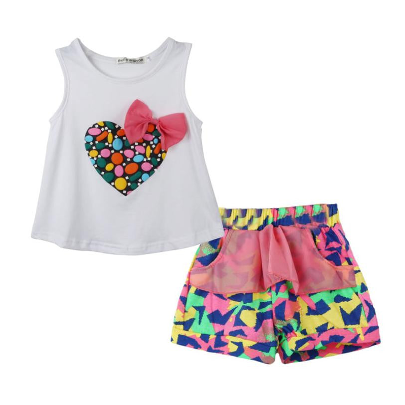 baby girls clothes set summer Girl Colorful Heart Shaped Bow Vest