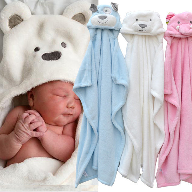 cute Animal shape baby hooded bathrobe towel baby receiving fleece