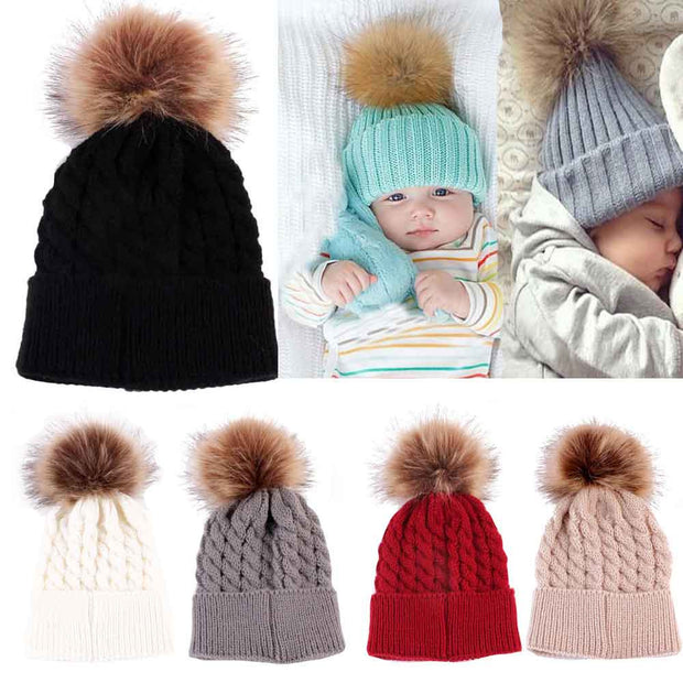 Newborn Cute Winter Baby Hat Fur Ball Pompom Cap Kids Girl Boy