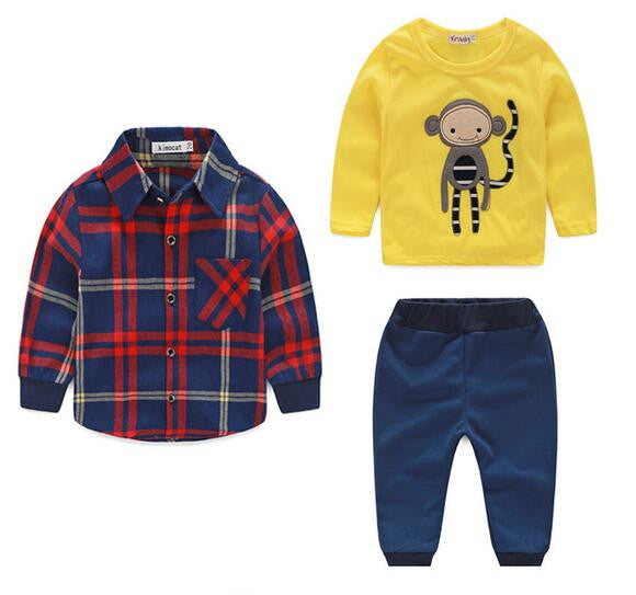 Baby boy clothes monkey cotton t-shirt +plaid outwear+casual pants