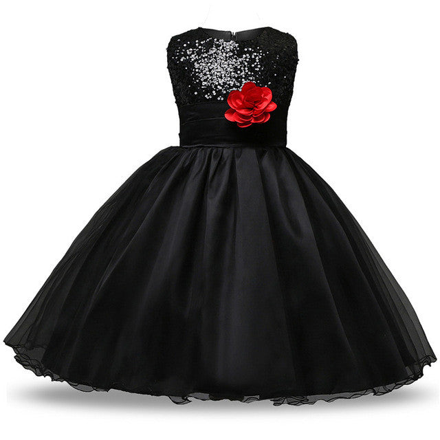 Aini Babe Princess Girl Sleeveless Sequins Floral Ball Gown Party