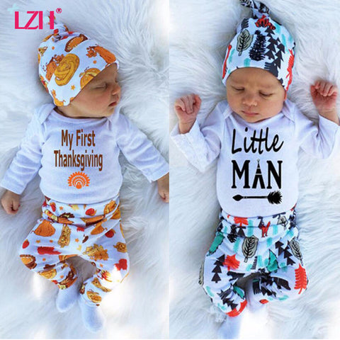 LZH 2017 Autumn Winter Newborn Baby Boys Clothes Set My First Thanksgiving Romper+Pant+Hat 3pcs Baby Outfit Suit Infant Clothing