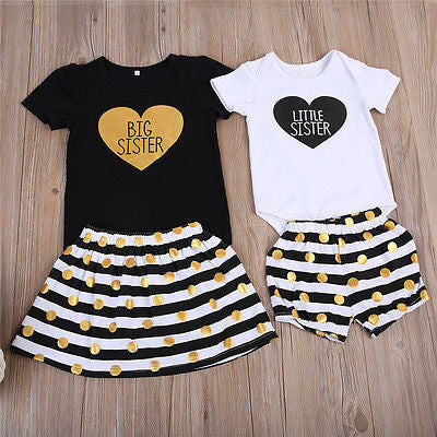 Kids Baby Girls Short Sleeve Little Sister Romper polka Dot Shorts Big Sister T-shirt Tops Skirt Matching Outfits Clothes Set