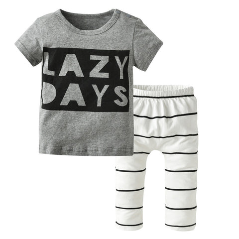 Summer Newborn Baby Boy Clothes Short Sleeve LAZY DAYS Printing T-shirt Tops+ Pants Toddler Outfits Baby Girl Clothing Set